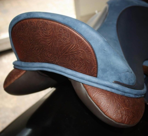 Blue vienna salle brn tooled cantle gusset - Custom Saddlery, Dressage Saddles | Drakesaddlesavvy.com