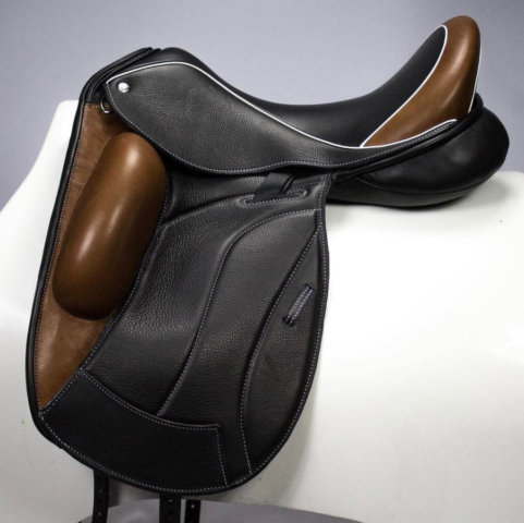 Icon black bronz white welt - Custom Saddlery, Dressage Saddles | Drakesaddlesavvy.com