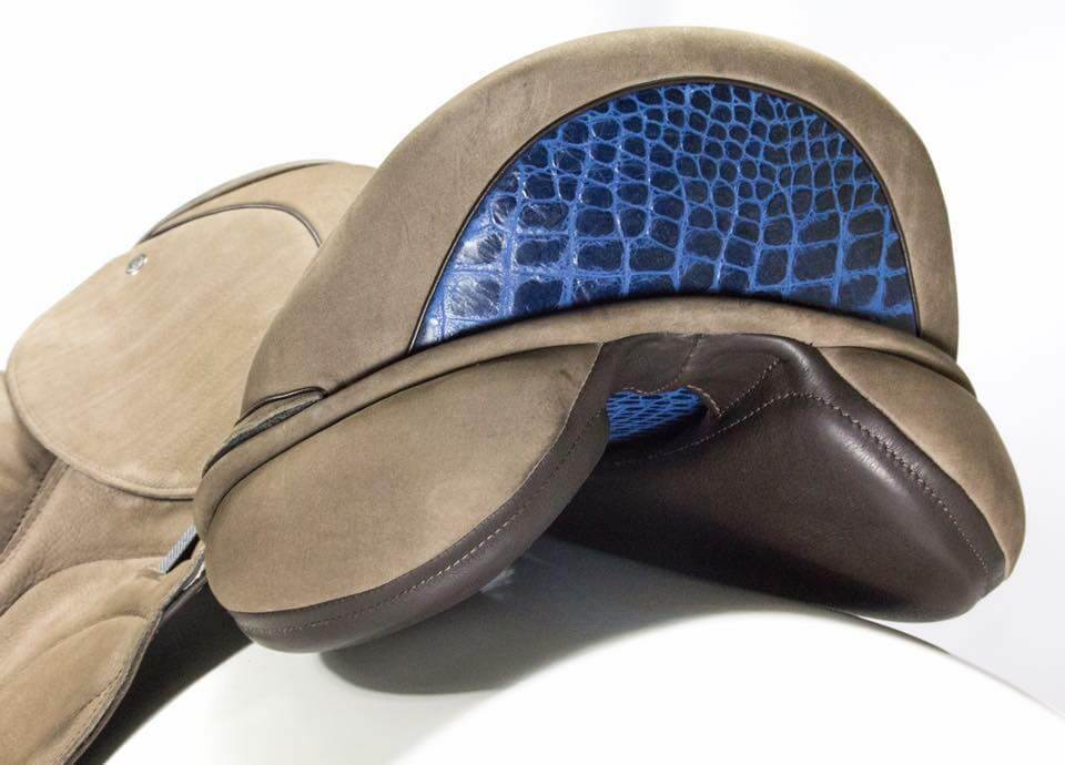 Taupe leather blue croc cantle lining - Custom Saddlery, Dressage Saddles | Drakesaddlesavvy.com