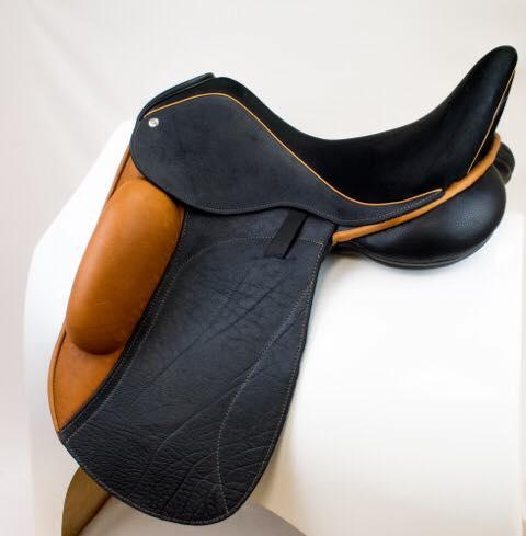 Everest mono blk buff caramel block facing welt - Custom Saddlery, Dressage Saddles   Drakesaddlesavvy.com