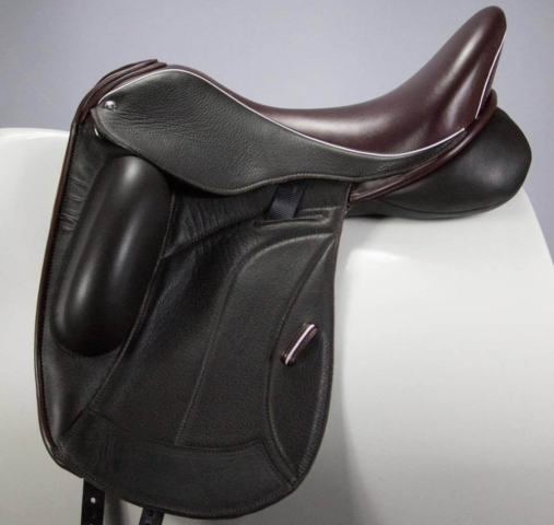 Flight black vienna burg seat loops white welt - Custom Saddlery, Dressage Saddles   Drakesaddlesavvy.com