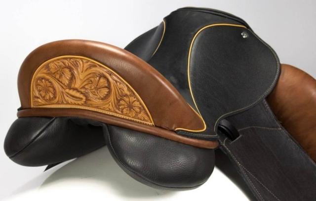Flight brn buff tooled cantle - Custom Saddlery, Dressage Saddles   Drakesaddlesavvy.com