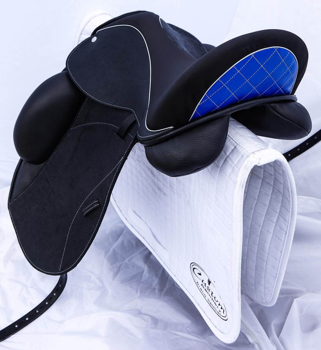 Icon black mid blue paten basketweave white welt - Custom Saddlery, Dressage Saddles   Drakesaddlesavvy.com
