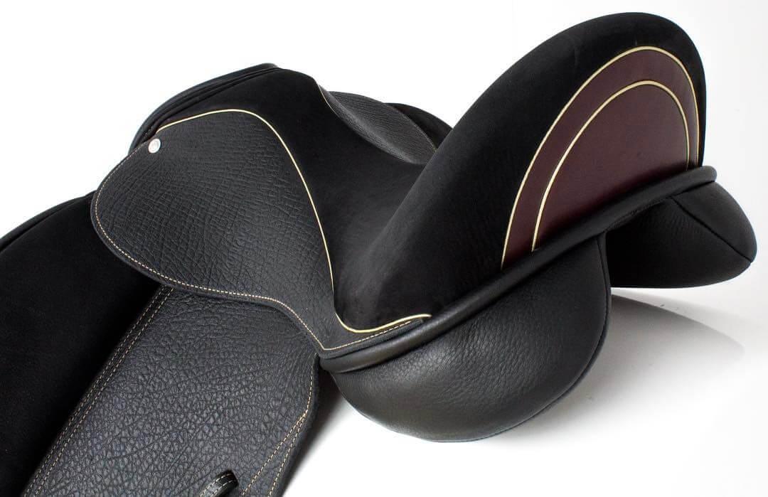 Icon inlaid cantle burgundy smooth cream welt - Custom Saddlery, Dressage Saddles   Drakesaddlesavvy.com