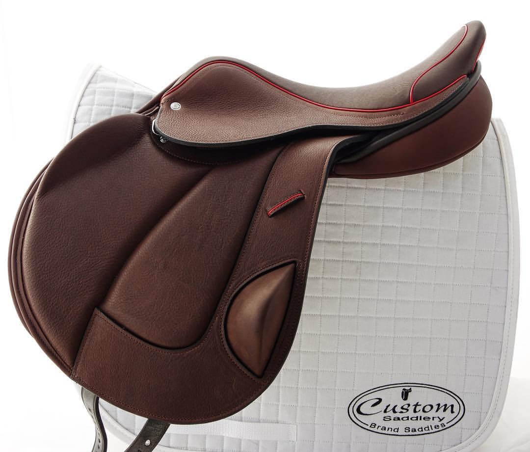 MC mono acajou red welt - Custom Saddlery, Dressage Saddles   Drakesaddlesavvy.com