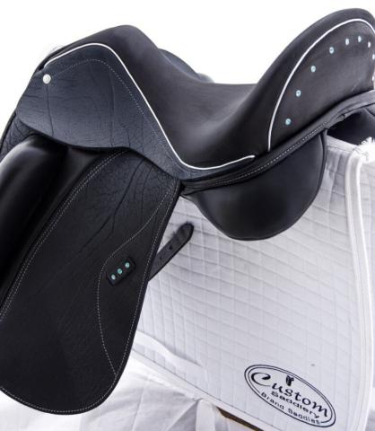 Omni brn buff aqua crystals - Custom Saddlery, Dressage Saddles   Drakesaddlesavvy.com